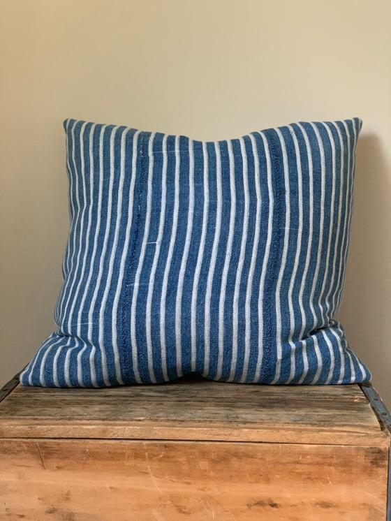 Image of Thin Stripe Indigo Pillow