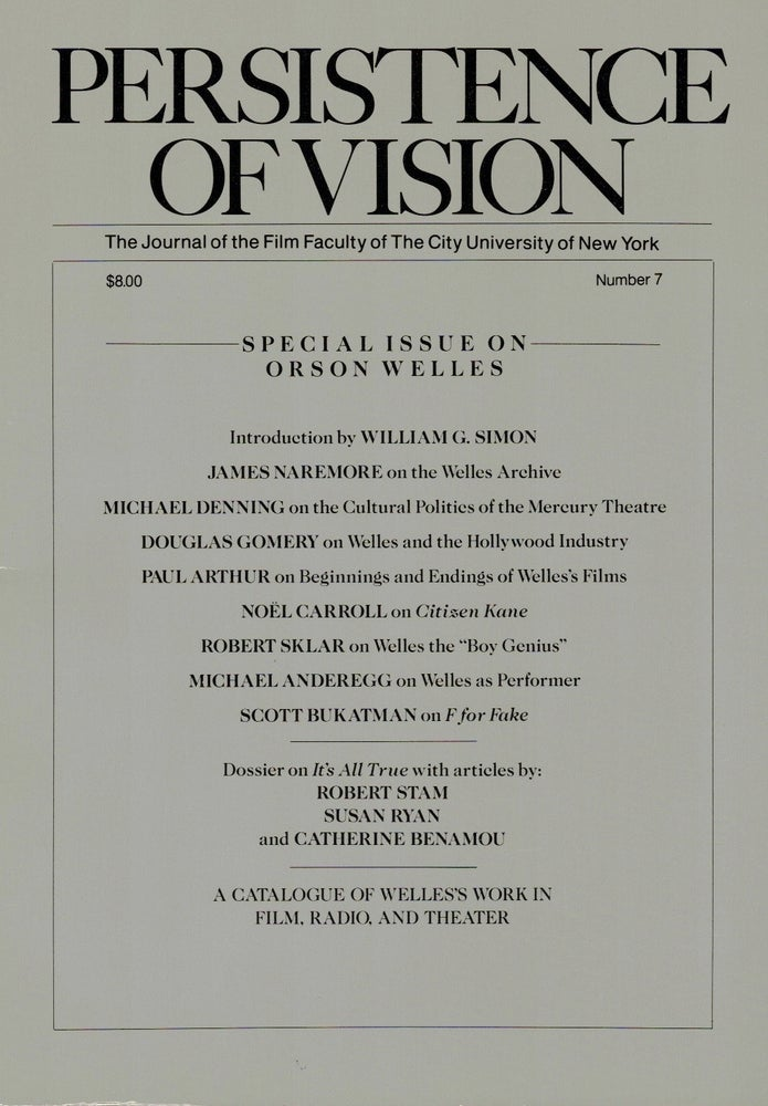 Image of Persistence of Vision No. 7: Special Issue on Orson Welles (1989)