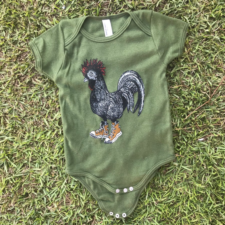 Image of Baby Cluck Taylor Onesie on Army Green