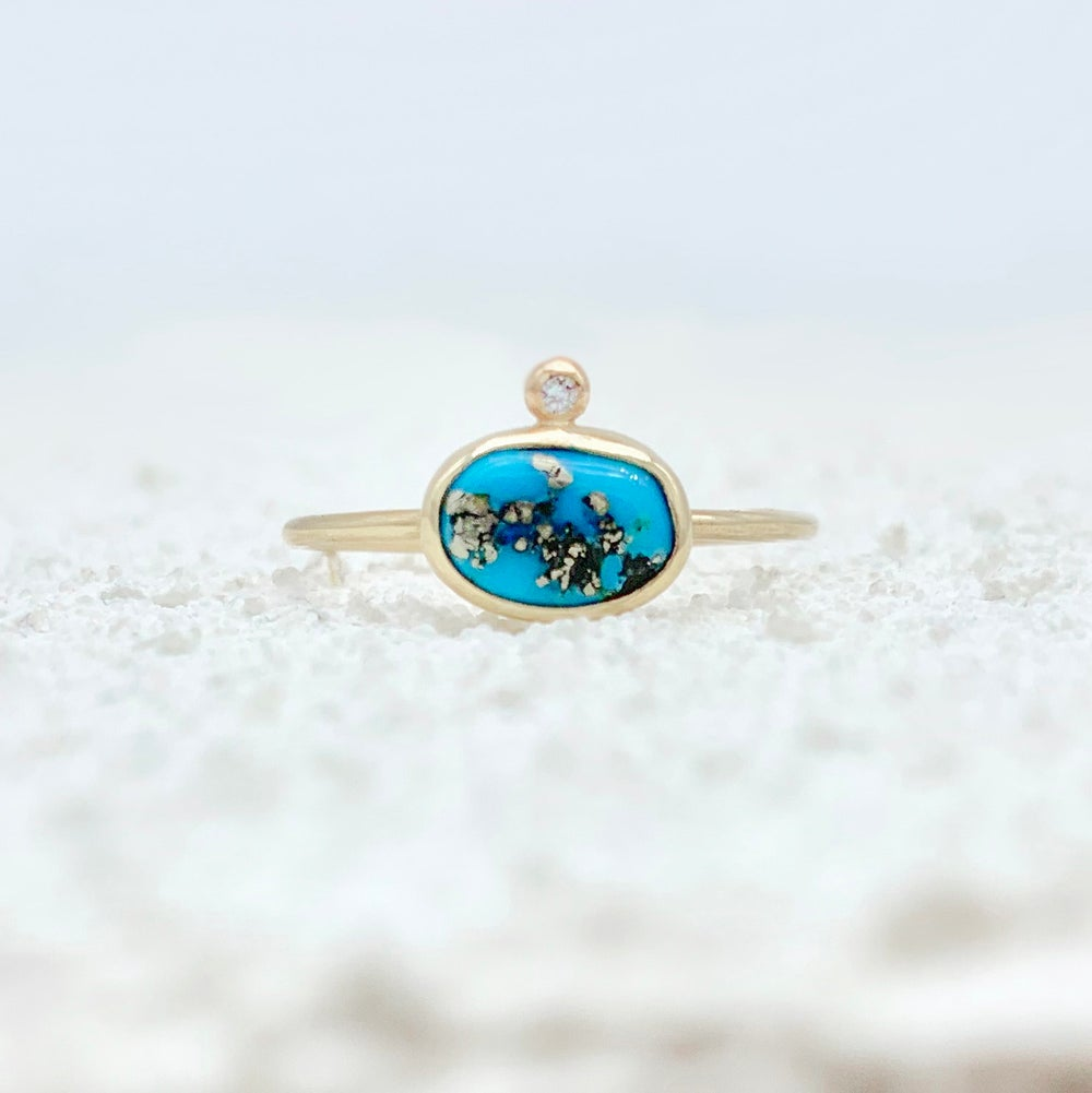Image of Turquoise Nugget and Diamond Ring - Size 8 - Sleeping Beauty Turquoise with Pyrite