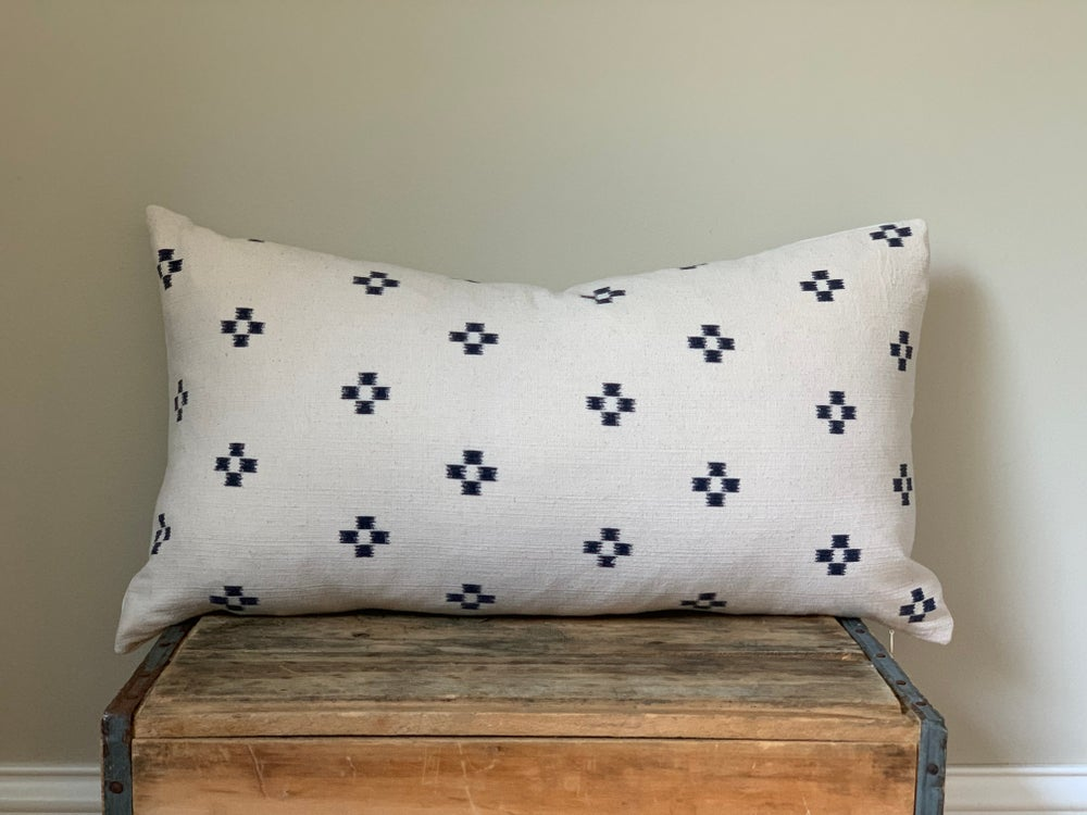 Image of Navy Cross Cotton Pillow