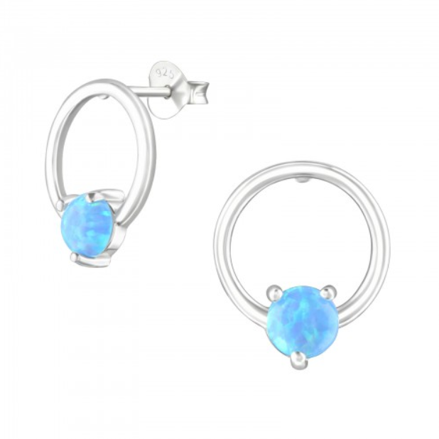 Image of Galene opal stud earrings (sterling silver)