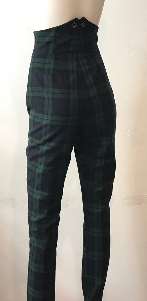 Image of High waisted tartan trousers