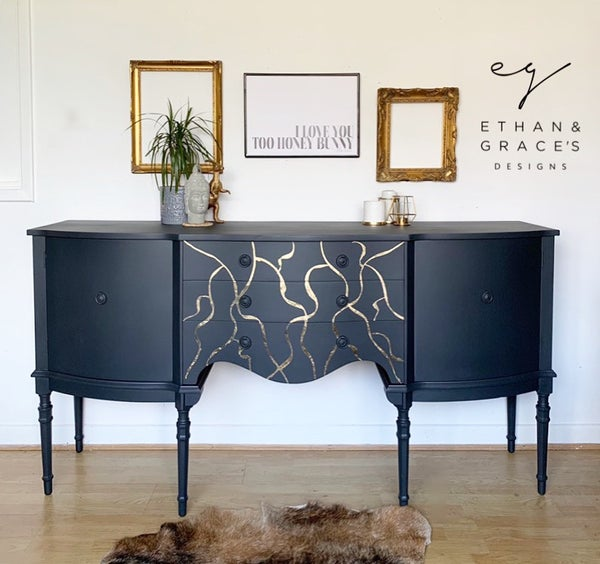 Image of A stunning dark grey & gold leaf sideboard