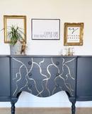 Image 3 of A stunning dark grey & gold leaf sideboard