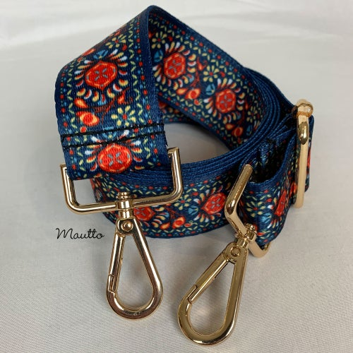 Image of Colorful Tapestry Strap for Handbags - Retro Ornamental Design - Adjustable Guitar-inspired Strap