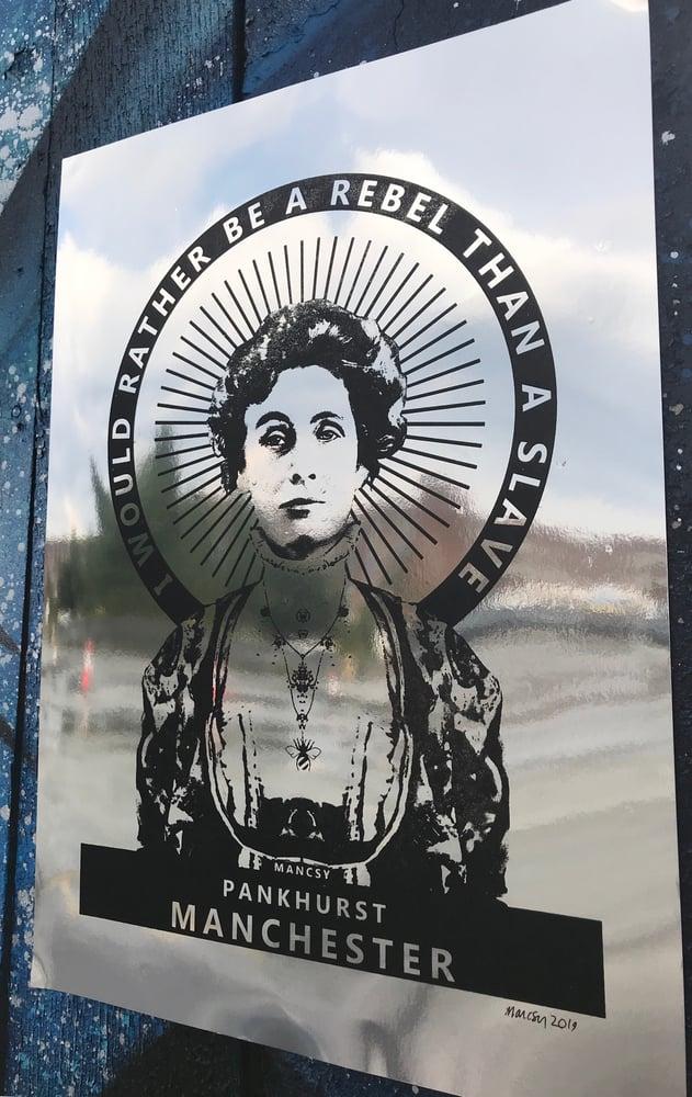 Image of Pankhurst silver foil card- FRAGILE FRAME IMMEDIATELY