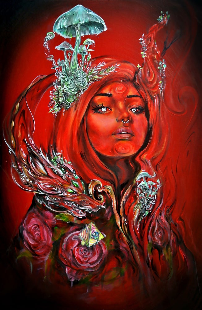 "Image of ""Roses are Red, Mushrooms are Glowing"" Original Painting"