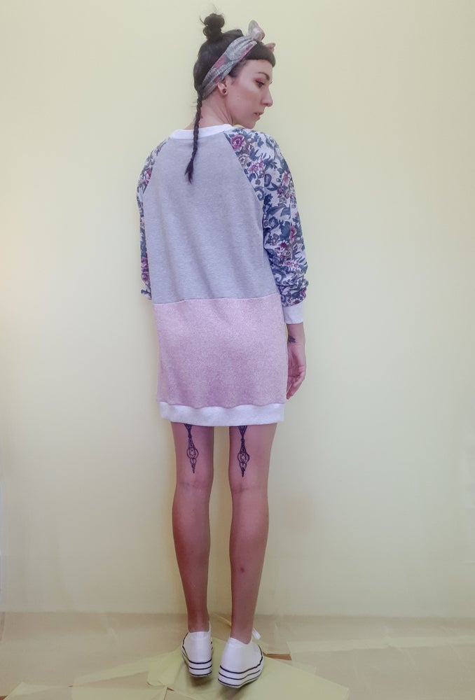 Image of Pastel Floral Sleeve Crew Neck