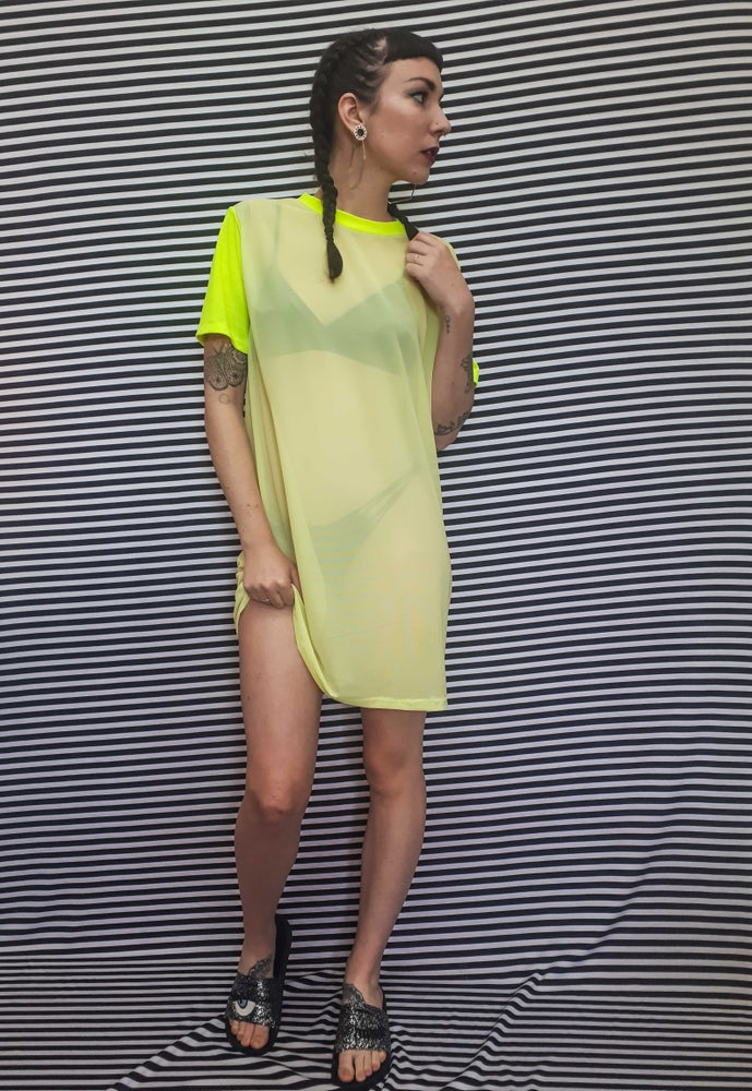 Image of Neon Yellow Mesh Tall Tee