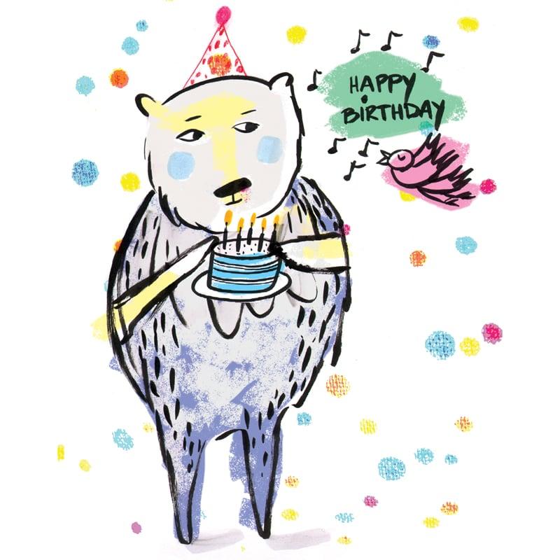"Image of ""Happy Birthday"" (Bear & Cake), Card"