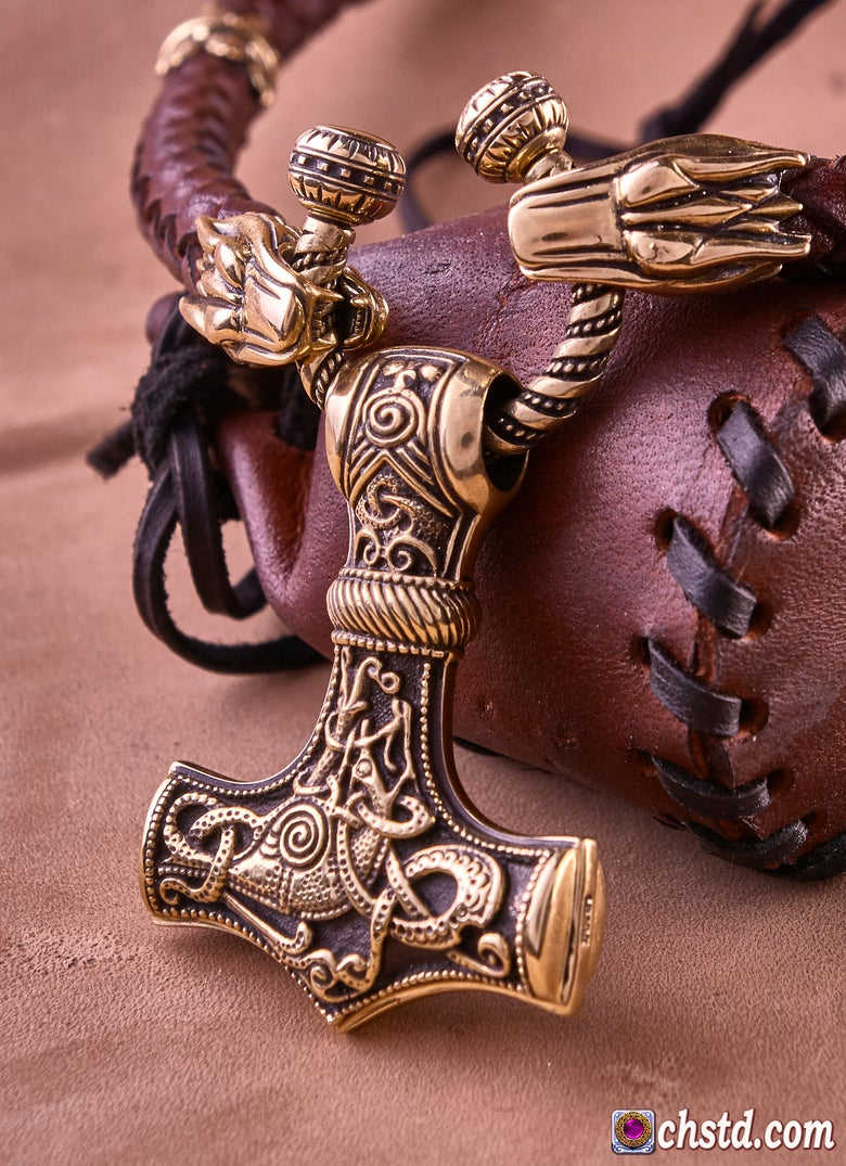 Image of Thor's Hammer : MJOLNIR + Wolfs Leather Necklace