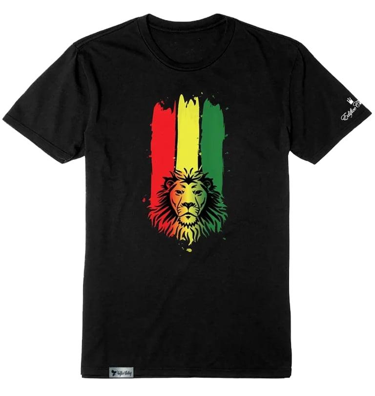 Image of EDIFICE CLOTHING RASTA LION MEN'S 3 COLOR FADE HAND PRINTED SHORT SLEEVE S-XXL