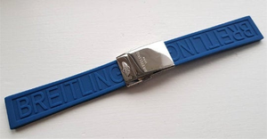 Image of Breitling 22mm/24mm Silicon Rubber Steel Deployment Clasp Black/Blue,TOP QUALITY.