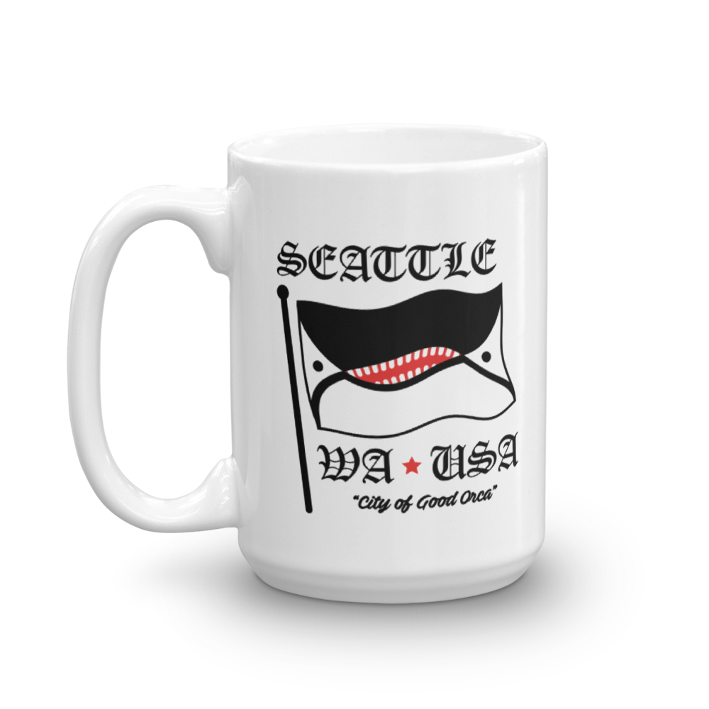 Image of Orca Face Seattle Flag Mug