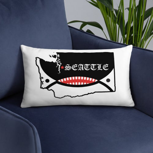 Image of Orca Face Seattle Flag Throw Pillow