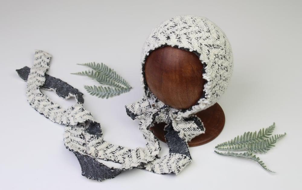 Image of Newborn boy textured stretch knit bonnet