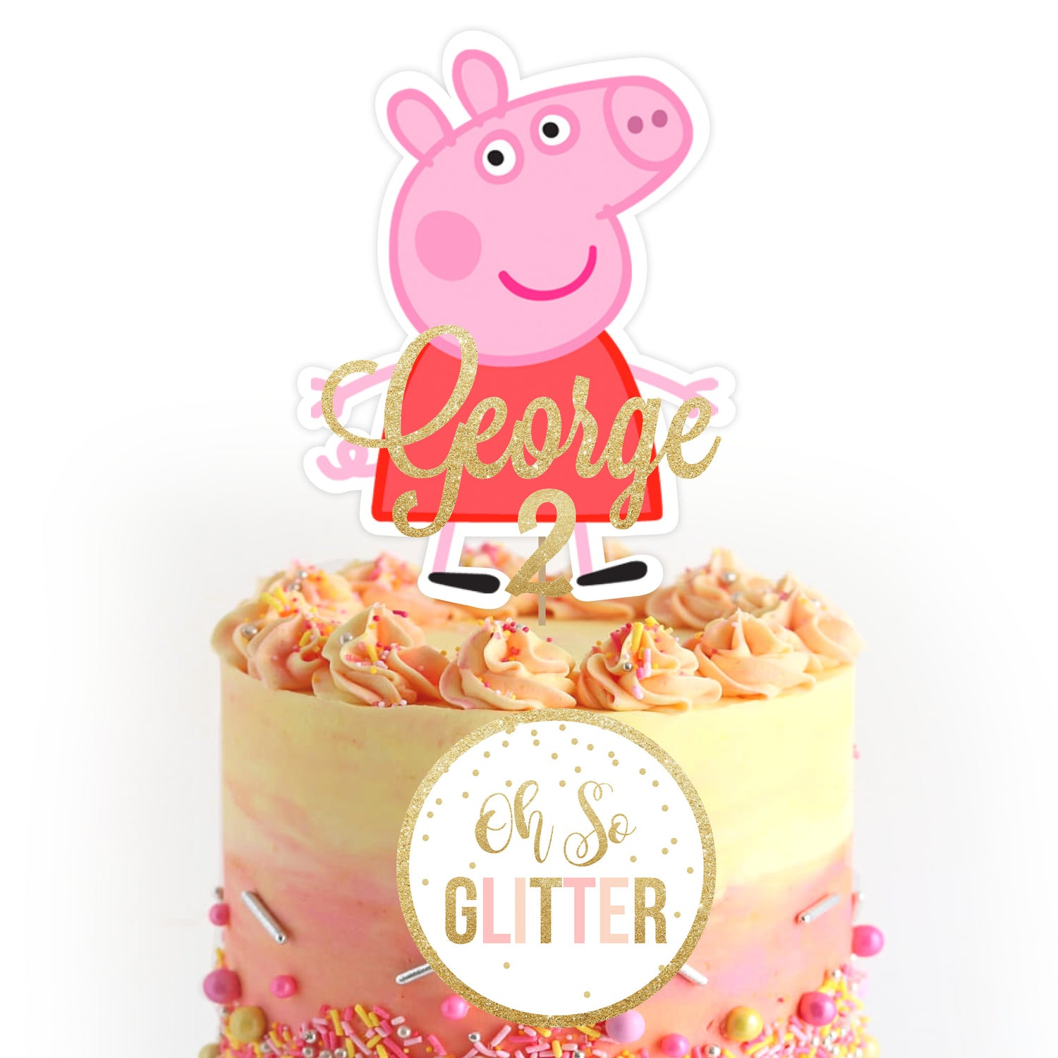 Fantastic Peppa Pig Cake Topper Oh So Glitter Funny Birthday Cards Online Overcheapnameinfo