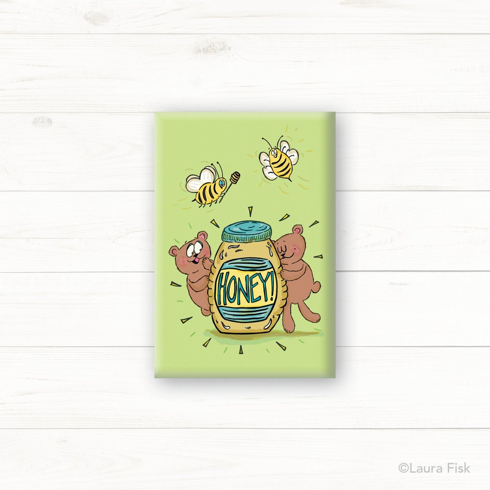 Image of Honey Bears & Bees Fridge Magnet