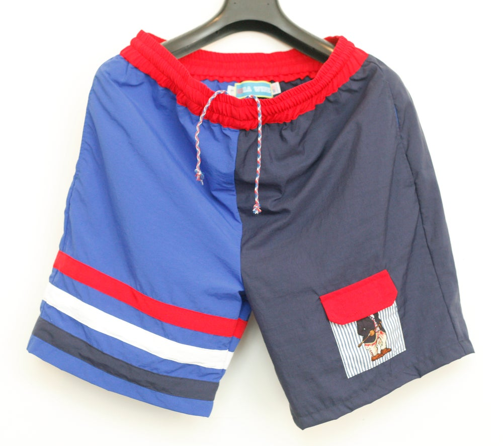 Image of Royal Blue/Navy Blue Red & White Nylon Bear Velcro Pocket Shorts