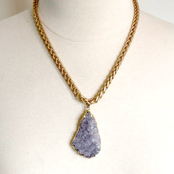 Image of Druzy Amethyst Necklace on Matte Chain
