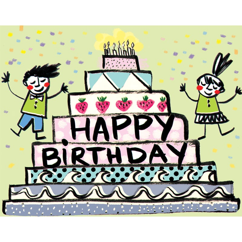 Image of Happy Birthday (Folks with Cake), Card