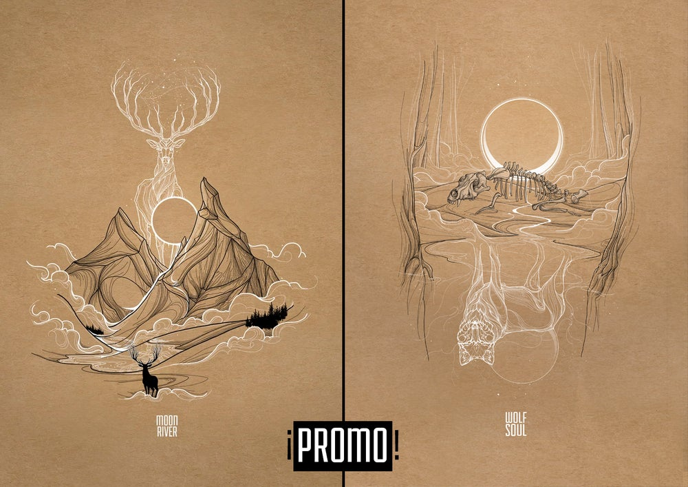Image of Pack Moon River + Wolf Soul (30x42 cm)