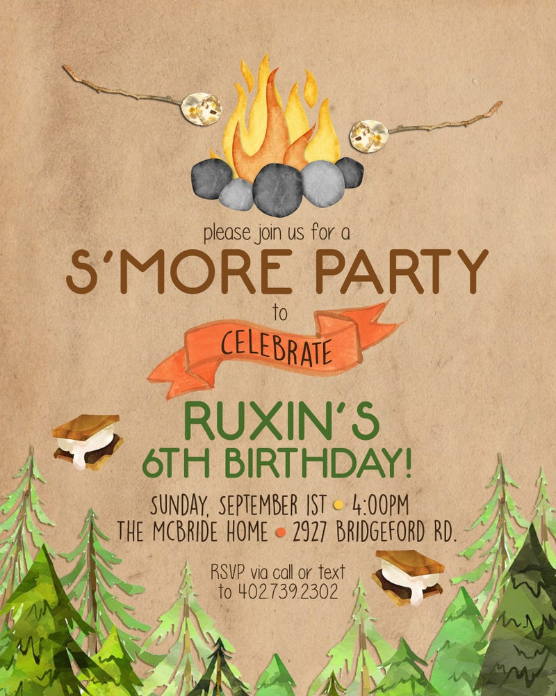 Image of Smore Party Birthday Invitation & Thank You