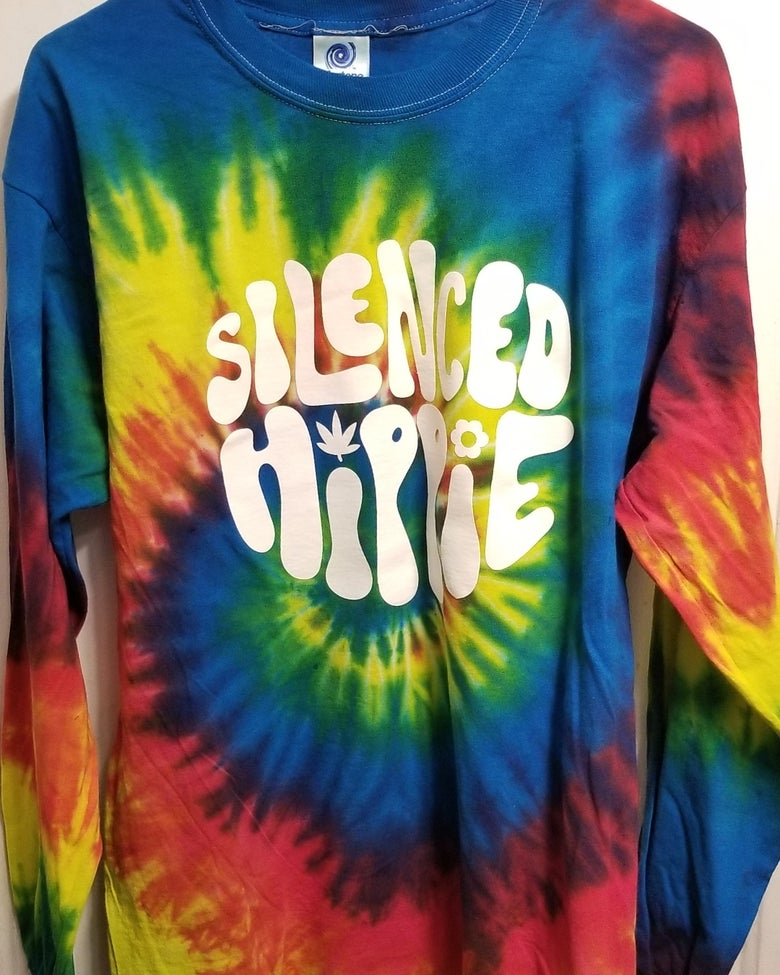 Image of Tie-dyed silenced hippie long sleeve tee PRE-ORDER LISTING