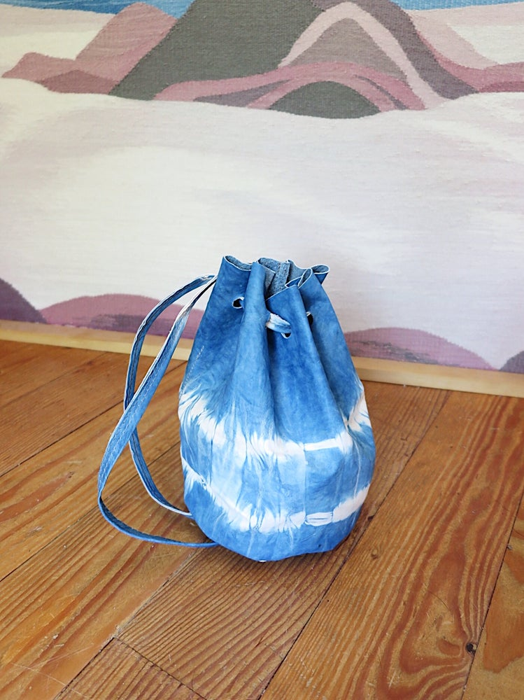 Image of INDIGO SHIBORI LEATHER #1451