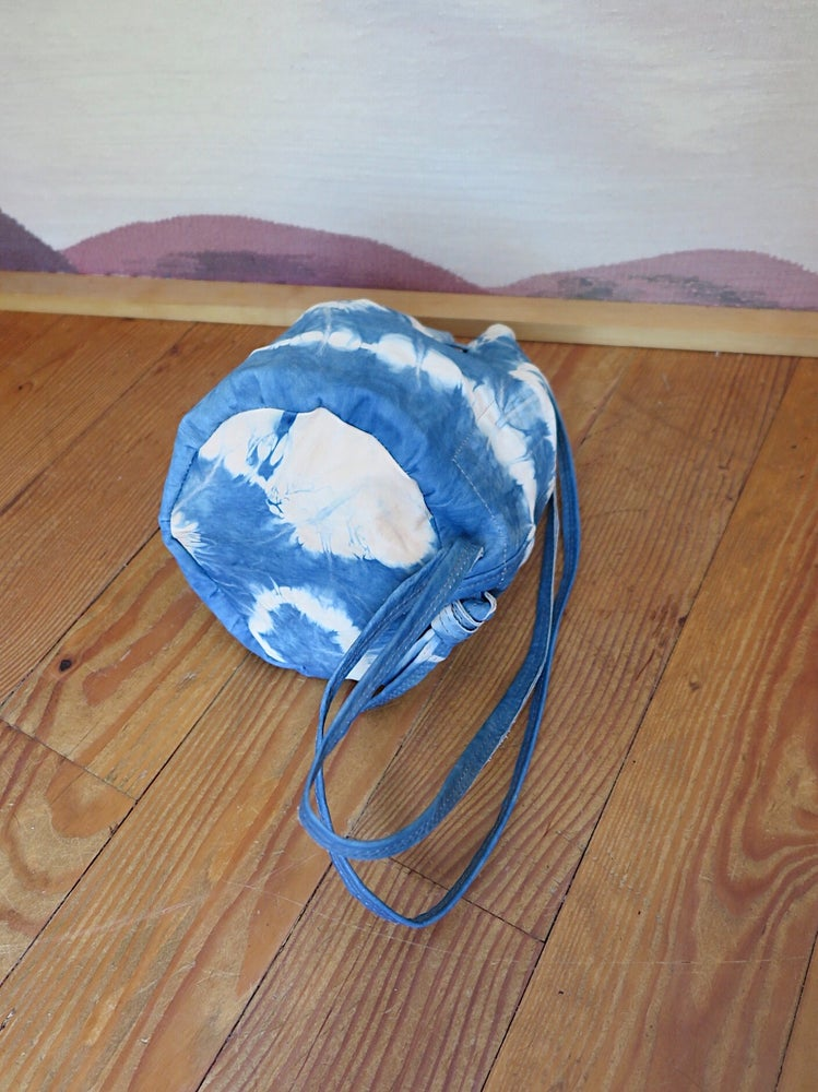 Image of INDIGO SHIBORI LEATHER #1453