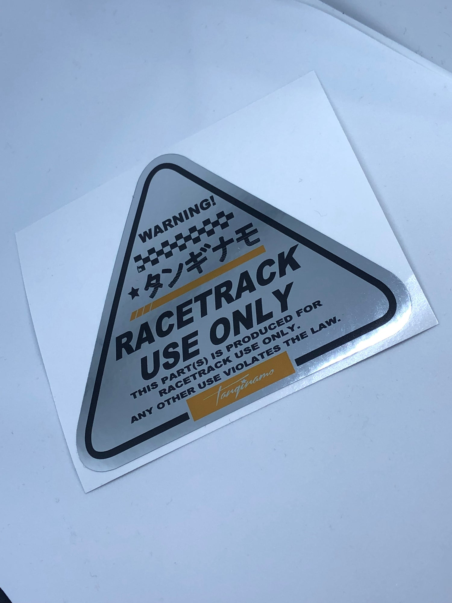 Image of RACEC TRACK ONLY CHROME TRIANGLE DECAL