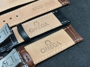 Image of OMEGA Deployment Gents Leather Straps,Brown,Black,18mm/20mm,New