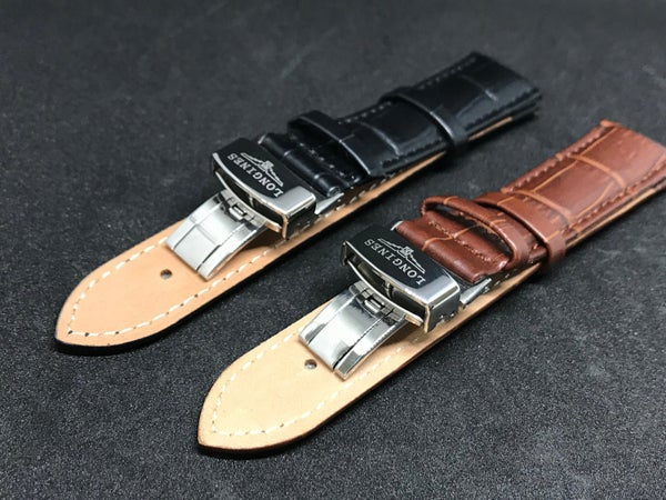 Image of LONGINES Deployment Gents Leather Straps,Brown,Black,18mm/20mm,New