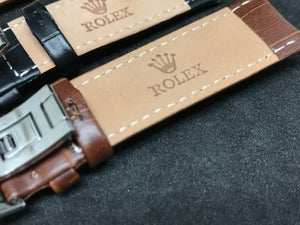 Image of ROLEX Deployment Gents Leather Straps,Brown,Black,18mm/20mm,New