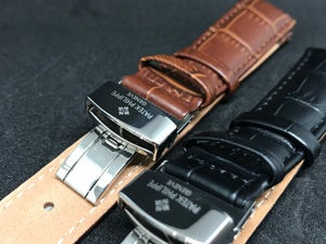 Image of PATEK PHILIPPE Deployment Gents Leather Straps,Brown,Black,18mm/20mm,New