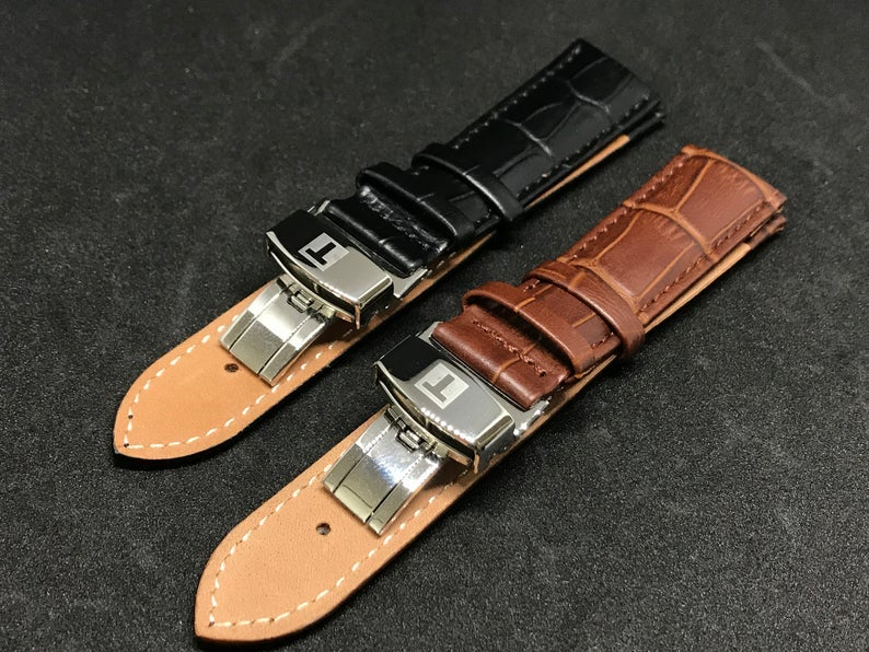 Image of TISSOT Deployment Gents Leather Straps,Brown,Black,18mm/20mm,New