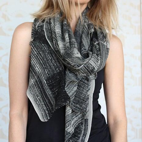 Image of Lines print silk crepe scarf