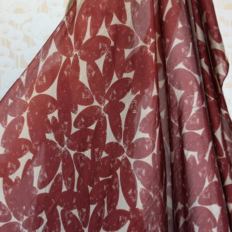 Image of Halftone Leaf Print Silk Scarf