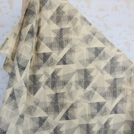 Image of Black and yellow origami print silk cotton scarf in black