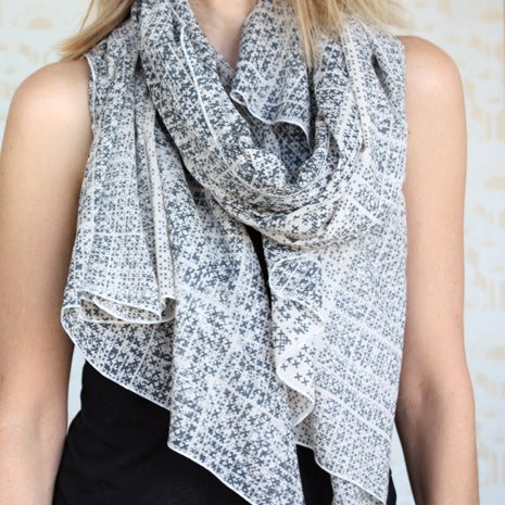 Image of Crosshatch Print White and Grey Cotton Scarf