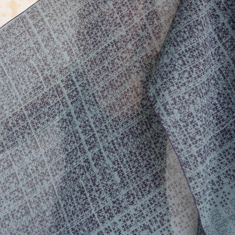 Image of Crosshatch Print Silk Cotton Grey/Mauve Scarf