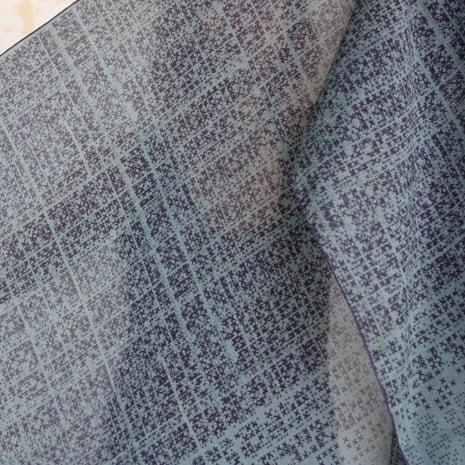 Image of Crosshatch Print Silk Cotton Grey/Mauve Scarf