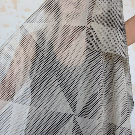 Image of Windmill Dot Print Silk Cotton Black/Bone