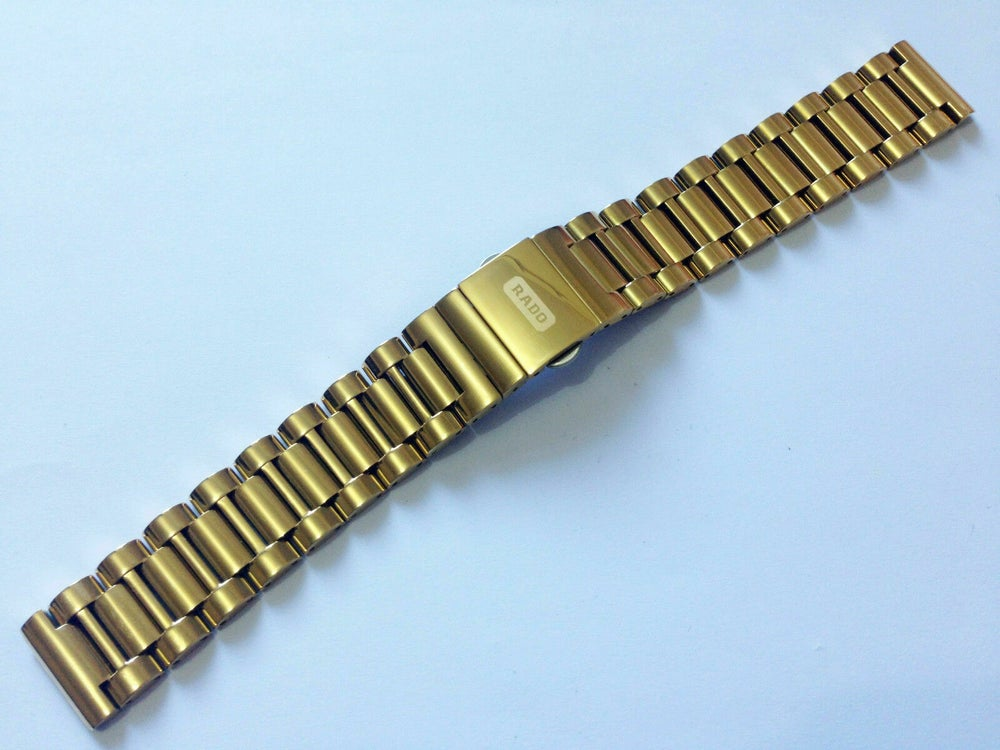 Image of RADO DIASTAR YELLOW GOLD PLATED GENTS WATCH STRAP,18MM,NEW,HEAVY DUTY,