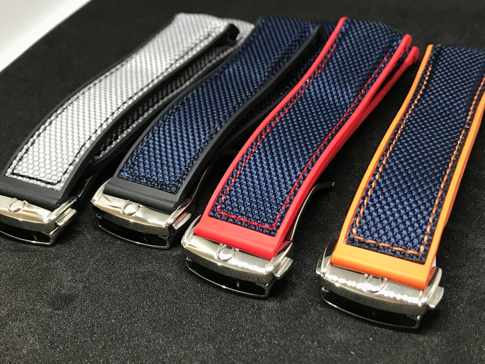 Image of OMEGA NYLON/RUBBER DEPLOYMENT GENTS WATCH STRAP,4 COLORS,20mm/22mm,NEW.