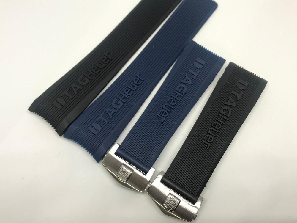Image of Tag Heuer Carrera 24mm Silicon Rubber Deployment gents watch strap, Black/blue,NEW