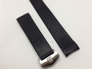 Image of Tag Heuer Carrera 22mm/24mm Silicon Rubber Deployment gents watch strap,Black,NEW