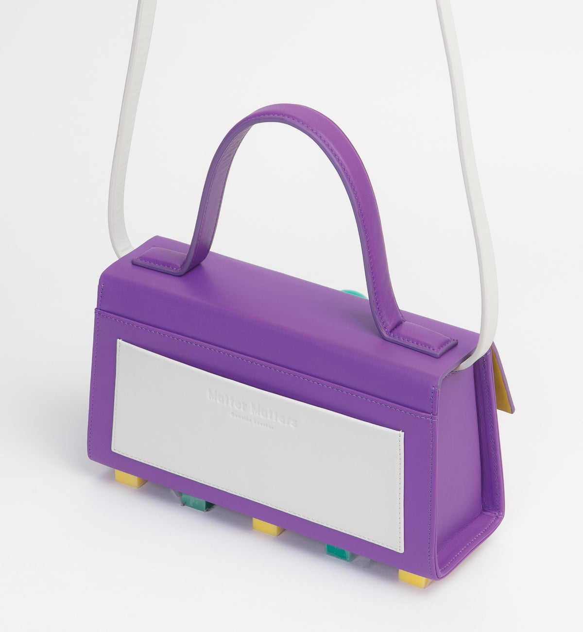 Image of Mini Trapezoid satchel bag • Purple with strap