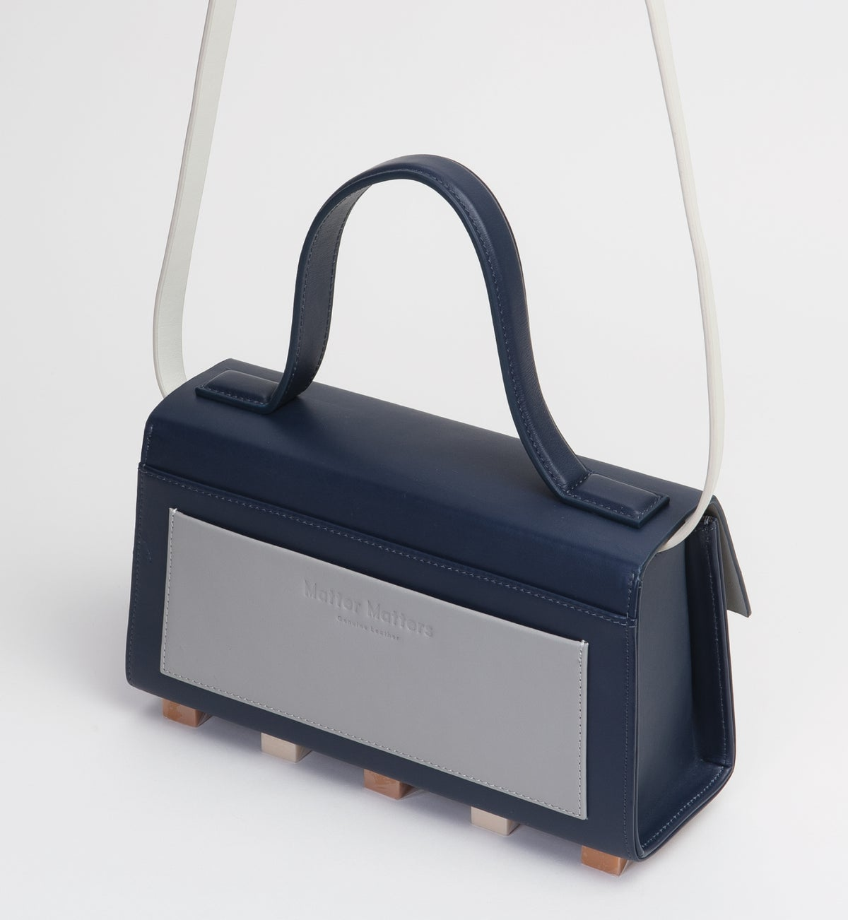 Image of Mini Trapezoid satchel bag • Navy with strap